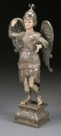Sculpture, A SPANISH COLONIAL SAINT WITH SILVER MOUNTS. 18th Century. 33 inches (83.8 cm) high. ...