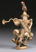 Fine Art - Sculpture, European:Antique (Pre 1900), A SPANISH COLONIAL POLYCHROME WOOD HORN BLOWER . Late 18th Century.28 inches (71.1 cm) high. ...