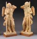 Marble:Contemporary, A PAIR OF SIENNA MARBLE ANGELS. 49 inches (124.5 cm) high, each.... (Total: 2 Items)
