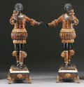 Decorative Arts, Continental:Other, A PAIR OF ROCOCO STYLE SHELL INLAID POLYCHROME WOOD BLACKAMOORS. 72inches (182.9 cm) high, each. ... (Total: 2 Items)