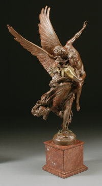After ANTONIN MERCIÉ (French, 1845-1916) Gloria Victus, 19th Century Bronze with patina 42-1/2 in