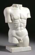 Marble:Contemporary, AN ITALIAN CARRARA MARBLE MALE TORSO. 24-1/4 inches (61.6 cm) high....