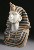 Marble:Contemporary, A SPECIMEN MARBLE HEAD OF AN EGYPTIAN PHARAOH. 27-3/4 inches (70.5cm) high. ...