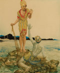 Mainstream Illustration, WILLIAM ANDREW POGANY (Hungarian, 1882-1955). Out of theSea. Watercolor on paper. 19.25 x 15.75 in.. Signed lowerleft...