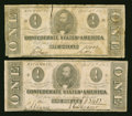 Confederate Notes:1863 Issues, T62 $1 1863. Two Examples.. ... (Total: 2 notes)