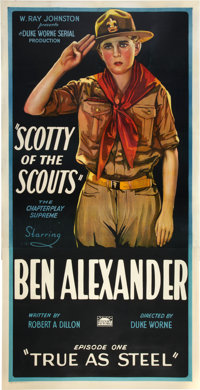 "Scotty of the Scouts (Rayart Pictures, 1926). Three Sheet (41"" X 81"") Chapter One -- ""True as Steel.""..."