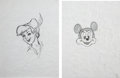 Music Memorabilia:Original Art, Michael Jackson's Drawings of Peter Pan and Mickey Mouse.... (Total: 2 )