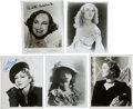 Movie/TV Memorabilia:Autographs and Signed Items, Myrna Loy, Lillian Gish, Claudette Colbert, Paulette Goddard, and Fay Wray Signed Photos... (Total: 5 )