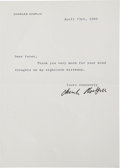 Movie/TV Memorabilia:Autographs and Signed Items, Charlie Chaplin Signed Letter from 1969....