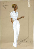 Movie/TV Memorabilia:Original Art, Lana Turner Slightly Dangerous Costume Sketch Signed byIrene....