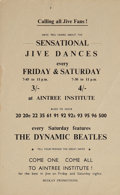 Music Memorabilia:Posters, The Beatles Dynamic Beatles Aintree Institute Handbill, One of Three Known (1961)....