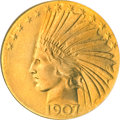 Indian Eagles, 1907 $10 Wire Rim MS64 NGC....