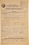 Movie/TV Memorabilia:Autographs and Signed Items, Greta Garbo Signed Driver's License Application Form....