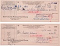 Movie/TV Memorabilia:Autographs and Signed Items, Ernie Kovacs Signed Checks to the IRS.... (Total: 2 Items)