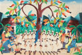 Fine Art - Painting, American:Contemporary   (1950 to present)  , LOUIS JOSEPH. Islanders praying around a pear tree, 1974.Oil on masonite board. 23-1/2 x 35 inches (59.7 x 88.9 cm). Si...
