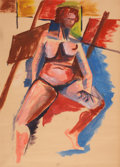 Works on Paper, JACOB LAWRENCE (American, 1917-2000). Life Study of a Female Nude. Oil on paper. 23 x 16-3/4 inches (58.4 x 42.5 cm). ...