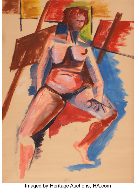 JACOB LAWRENCE (American, 1917-2000) Life Study of a Female Nude Oil on paper 23 x 16-3/4 inches (58.4 x 42.5 cm) ...