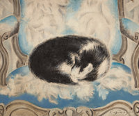 SEI KOYANAGUI (Japanese, 1896-1948) Cat sleeping on an armchair, c. 1920s Oil on canvas 21-1/4 x