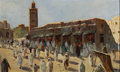 Fine Art - Painting, European:Modern  (1900 1949)  , ALBERT H. SCHMIDT (Swiss, 1883-1970). Djemaa el Fna, Marrakech. Oil on board. 16-1/2 x 27-1/4 inches (41.9 x 69.2 cm). S...