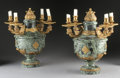 Decorative Arts, French:Lamps & Lighting, A PAIR OF FRENCH GILT BRONZE MOUNTED MARBLE FOUR LIGHT CANDELABRA. 19th Century. 16-1/2 x 13-1/4 x 9 inches (41.9 x 33.7 x 2...