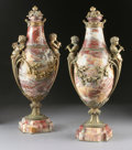 Decorative Arts, French:Other , A PAIR OF FRENCH GILT BRONZE MOUNTED MARBLE CASSOLETTES. 19thCentury. 18-1/2 inches (47.0 cm) high, each. ... (Total: 2 Items)