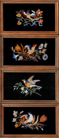 Decorative Arts, Continental:Other , A SET OF FOUR PIETRA DURA PLAQUES. 11-5/8 x 19-5/8 inches (29.5 x 49.8 cm) each, framed. ... (Total: 4 Items)