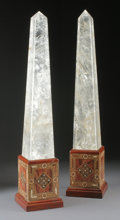 Decorative Arts, Continental:Other , A PAIR OF ROCK CRYSTAL OBELISKS . 23-1/2 inches (59.7 cm) high,each. ... (Total: 2 Items)