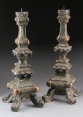 Lighting:Candelabra, A PAIR OF ITALIAN BAROQUE STYLE CARVED WOOD PRICKET CANDLESTICKS. 27-1/4 inches (69.2 cm) high, each. ... (Total: 2 Items)