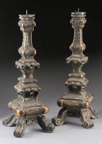 A PAIR OF ITALIAN BAROQUE STYLE CARVED WOOD PRICKET CANDLESTICKS 27-1/4 inches (69.2 cm) high, each