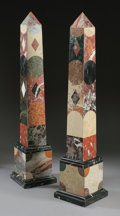 Decorative Arts, Continental:Other , A LARGE PAIR OF PIETRA DURA OBELISKS. 52 inches (132.1 cm) high,each. ... (Total: 2 Items)