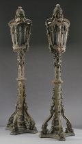 Decorative Arts, Continental:Lamps & Lighting, A PAIR OF VENETIAN STYLE CARVED WOOD FLOOR LANTERNS. 110-1/2 inches(280.7 cm) high, each. ... (Total: 2 Items)