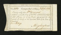 Colonial Notes:Connecticut, Connecticut Interest Payment Certificate. February 6, 1792. VeryFine-Extremely Fine....