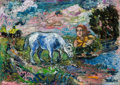 Paintings, DAVID DAVIDOVICH BURLIUK (Russian/American, 1882-1967). Woman and Horse. Oil on canvas. 12 x 16 inches (30.5 x 40.6 cm)...