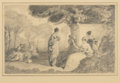 Fine Art - Work on Paper:Drawing, FREDERICK DICKINSON WILLIAMS (American, 1829-1915). Figures in aClassical Landscape. Pencil on paper. 5-3/4 x 9 inches ...
