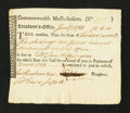 Colonial Notes:Massachusetts, Massachusetts Treasury Tax Collector's Certificates. January 1783.Choice About New....