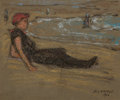 Fine Art - Work on Paper:Drawing, ELMER LIVINGSTON MACRAE (American, 1875-1953). Girl at theShore, 1912. Pastel and charcoal on board. 6 x 7 inches(15.2...