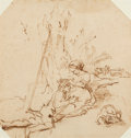 Fine Art - Work on Paper:Drawing, Circle of REMBRANDT VAN RIJN (Dutch, 1606-1669). The Lovers.Pen and ink on paper. 6-1/2 x 6-1/2 inches (16.5 x 16.5 cm)...