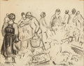 Fine Art - Work on Paper:Drawing, WILLIAM SAMUEL HORTON (American, 1865-1936). Women in MarketTown in Norway, c. 1926. Charcoal on paper. 7-1/2 x 9-3/4 i...