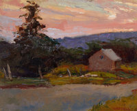 SUSAN GRISELL (American, 20th Century) Cottage on a Lake Oil on board 8 x 10 inches (20.3 x 25.4