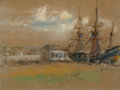 Fine Art - Work on Paper, GLENN COOPER HENSHAW (American, 1884-1946). Early Sailing Ships in Dry Dock. Pastel on paper. 12-3/4 x 15-1/4 inches (32...