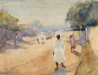 RALPH WORMELEY CURTIS (American, 1854-1922) A Street in Hyderabad, Deccan, India Watercolor and grap