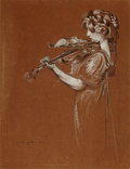 Fine Art - Work on Paper:Drawing, MAURICE LANGASKENS (Belgian, 1884-1984). The Violinist,1910. Black and white chalk on brown paper. 15-1/2 x 12 inches (...