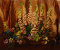 Fine Art - Painting, European:Modern  (1900 1949)  , GEORGE LAURENCE NELSON (American, 1887-1978). Foxglove withStill Life, 1938. Oil on canvas laid on board. 20 x 24 inche...