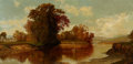 Fine Art - Painting, American:Antique  (Pre 1900), AMERICAN SCHOOL (19th Century). River Vista with CoveredBridge. Oil on canvas. 18 x 37 inches (45.7 x 94.0 cm). ...