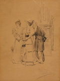 Fine Art - Work on Paper:Drawing, ALBERT EDWARD STERNER (American, 1863-1946). Two Ladies and aGentleman. Pen and ink on paper. 16 x 11-3/4 inches (40.6 ...