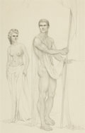 Fine Art - Work on Paper:Drawing, JOHN B. LEAR, JR. (American, 1910-2008). Classical FigureStudy, ca. 1940s. Graphite on paper. 11-1/2 x 7-1/4 inches(29...