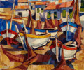 Fine Art - Painting, European:Contemporary   (1950 to present)  , FRENCH SCHOOL (20th century). Boats in the Harbor. Oil oncanvas. 20 x 24 inches (50.8 x 61.0 cm). Signed illegibly lowe...