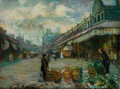Fine Art - Painting, American:Modern  (1900 1949)  , ERNEST FREDERICK MEYER (American, 1863-1952). Market, Brooklyn,New York. Oil on canvas. 12 x 15-3/4 inches (30.5 x 40.0...