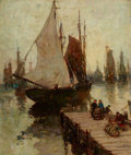 Fine Art - Painting, American:Modern  (1900 1949)  , PAUL BERNARD KING (American, 1867-1947). Sailing Ships in theHarbor. Oil on canvas. 24-1/2 x 20 inches (62.2 x 50.8 cm)...