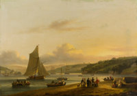 THOMAS LUNY (British, 1759-1837) Along the Water's Edge, 1816 Oil on canvas 24 x 33-3/4 inches (6